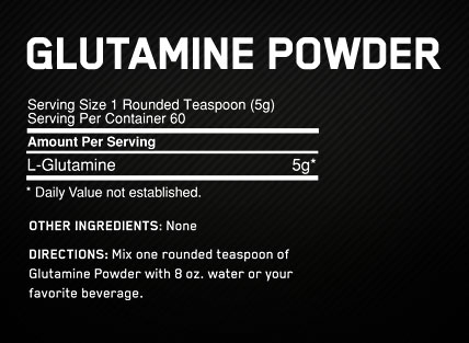 Optimum Nutrition Glutamine Powder 150g Supplement Facts