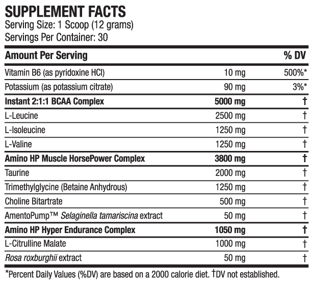 ANS Performance Amino HP Supplement Facts