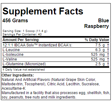SAN BCAA PRO Supplement Facts
