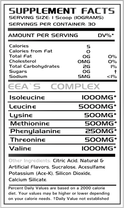 Prime Nutrition EAA'S Supplement Facts