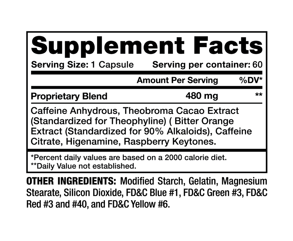 Thermadex Black Supplement Facts